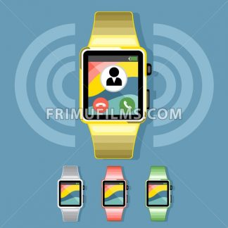 A set of yellow, silver, red and green smart watches with calls and battery info icons on the display panel on a blue background, digital vector image - frimufilms.com