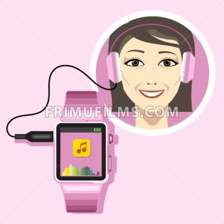 A smiling woman with an audio headset connected to a  pink smart watch with music and battery info icons on the display panel on a pink background, digital vector image - frimufilms.com