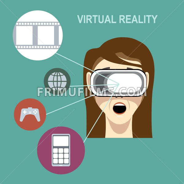 A virtual reality head set on a female head with brown hair with apps and functions icons on a green background, digital vector image - frimufilms.com