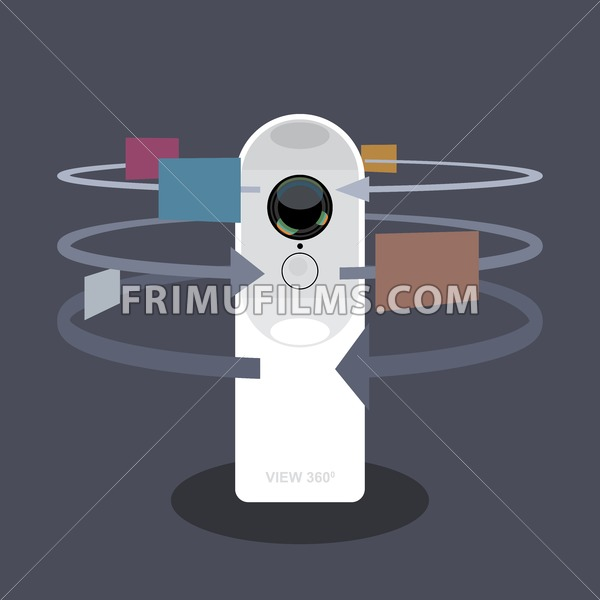 A white 360 degree camera video recorder with apps and functions icons, digital vector image - frimufilms.com