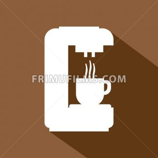 A white coffee machine pouring hot coffee in a white cup, in outlines, over a brown background, digital vector image - frimufilms.com