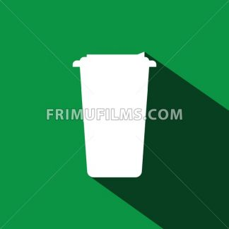 A white cup of coffee with a cap and shadow in outlines, over a green background, digital vector image - frimufilms.com