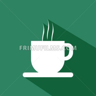 A white cup of coffee with steam and shadow, in outlines, over a green background. Digital vector image. - frimufilms.com