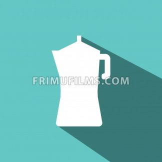 A white metallic coffee jar with shadow, in outlines, over a green background. Digital vector image. - frimufilms.com
