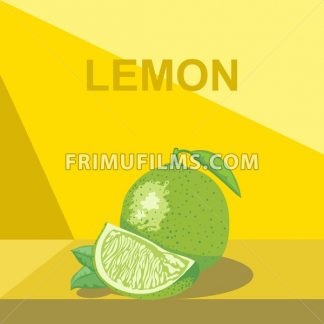 A whole big ripe lemon with green leaves and a half lemon on a table, digital vector image. - frimufilms.com