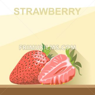 A whole big ripe strawberry with green leaves and a half strawberry on a table, digital vector image. - frimufilms.com