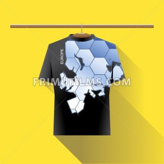 Abstract black shirt with europe blue logo with hexagon cells and text on a hanger in wardrobe over yellow background. Digital vector image - frimufilms.com