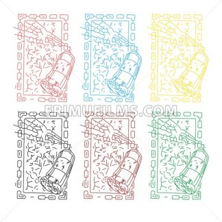 Abstract colored set of sprays painting picture in square frame. In outline style over white background. Digital vector image - frimufilms.com
