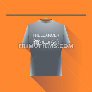 Abstract freelancer silver shirt with globe, computer and search icons and text on a hanger in wardrobe over orange background. Digital vector image - frimufilms.com