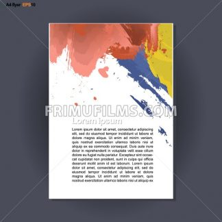Abstract print A4 design with blue, red and yellow brush strokes, for flyers, banners or posters over silver background. Digital vector image. - frimufilms.com