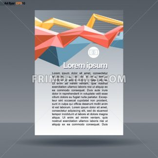 Abstract print A4 design with colored lines for flyers, banners or posters, with money icon, over silver background. Digital vector image. - frimufilms.com
