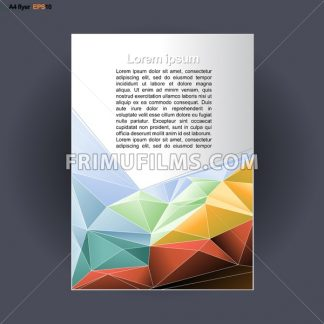Abstract print A4 design with colored triangles, for flyers, banners or posters over silver background. Digital vector image. - frimufilms.com