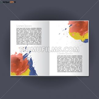 Abstract print A4 in 2 parts design with blue, red and yellow brush strokes, for flyers, banners or posters over silver background. Digital vector image. - frimufilms.com