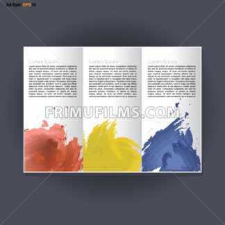 Abstract print A4 in 3 parts design with blue, red and yellow brush strokes, for flyers, banners or posters over silver background. Digital vector image. - frimufilms.com