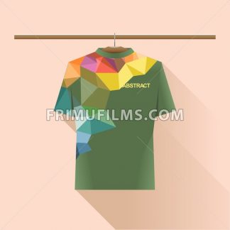 Abstract shirt with colored logo with triangles on a hanger in wardrobe over light peach background. Digital vector image - frimufilms.com