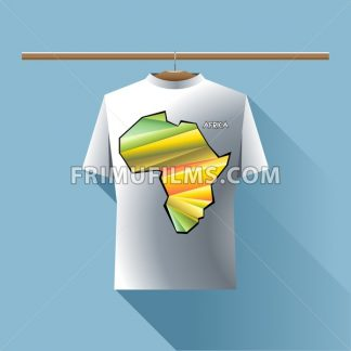 Abstract silver shirt with africa colored logo with triangles and text on a hanger in wardrobe over blue background. Digital vector image - frimufilms.com