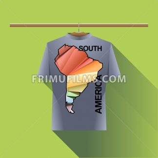 Abstract silver shirt with south america colored logo with triangles and text on a hanger in wardrobe over green background. Digital vector image - frimufilms.com