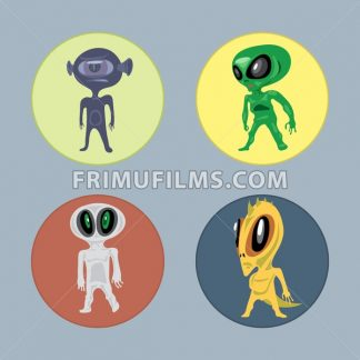 Alien creatures and monsters set flat style. Digital vector image - frimufilms.com