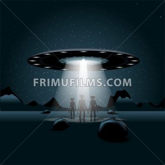Aliens on a planet, a flying unidentified ship with light over a background with dark space and glowing stars. Digital vector image - frimufilms.com