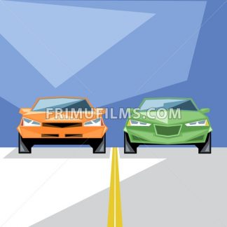 An orange and green cars at start for a racing and an yellow line, front view, over blue background, digital vector image - frimufilms.com