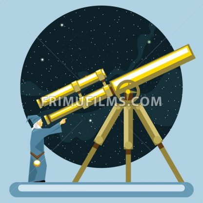 Ancient mag looking into a telescope and pointing with hand, observing stars, planets and galaxies. Digital vector image. - frimufilms.com