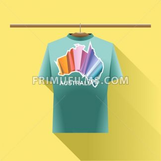 Aqua shirt with colored australia logo country on a hanger in wardrobe over yellow background. Digital vector image - frimufilms.com