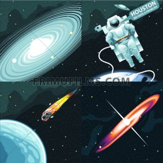 Astronaut in spacesuit flying in space and calling for Houston. Background with stars, planets and galaxies. Digital vector image. - frimufilms.com