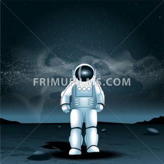 Astronaut on a planet, over a background with dark space and glowing stars. Digital vector image - frimufilms.com
