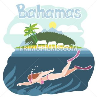 Bahamas flyer with a girl swimming underwater - frimufilms.com