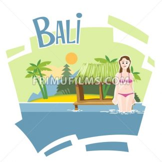 Bali flyer with a girl swimming into the sea - frimufilms.com