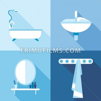 Bath icons set, in outlines. Digital vector image - frimufilms.com