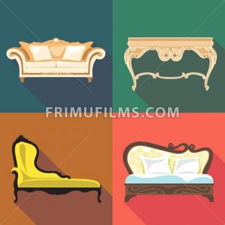 Bedroom home decoration icon set, flat style. Digital vector image - frimufilms.com