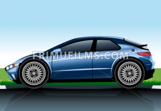 Big blue realistic car model. Digital vector image - frimufilms.com