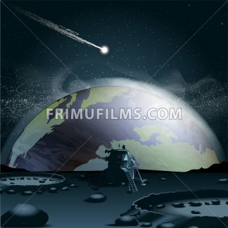 Big planet earth seen from the moon in 3d, over a background full of glowing stars and a falling asteroid or comet. Digital vector image - frimufilms.com