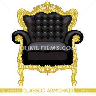 Black and yellow classic armchair over white background. Digital vector image - frimufilms.com