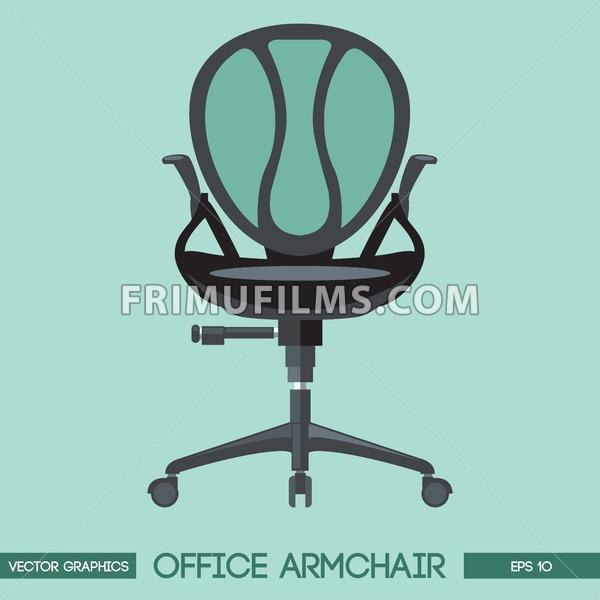 Black modern office armchair over green background. Digital vector image - frimufilms.com