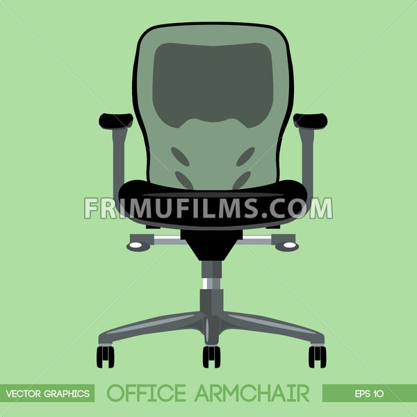 Black modern office armchair over green background. Digital vector image - frimufilms.com