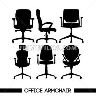 Black modern office armchair set, in outlines, over white background. Digital vector image - frimufilms.com