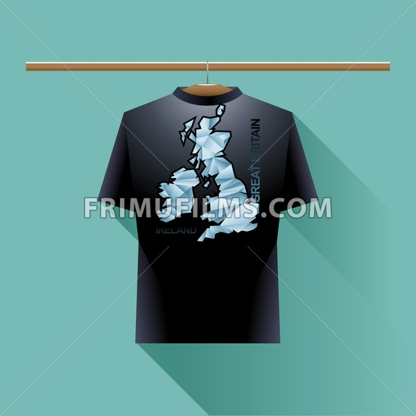 Black shirt with blue ireland and great britain logo country on a hanger in wardrobe over green background. Digital vector image - frimufilms.com