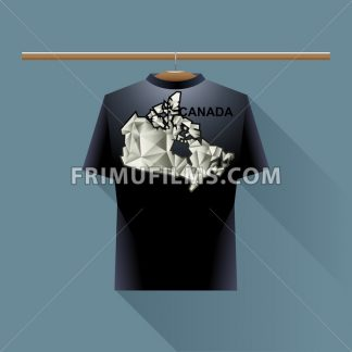 Black shirt with canada logo country on a hanger in wardrobe over blue background. Digital vector image. - frimufilms.com