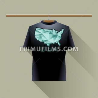 Black shirt with green usa logo country on a hanger in wardrobe over brown background. Digital vector image. - frimufilms.com