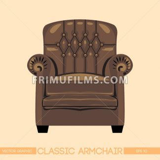Brownclassic armchair over light background. Digital vector image - frimufilms.com