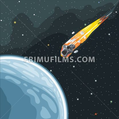 Burning comet flying in space to planet earth. Digital vector image. - frimufilms.com