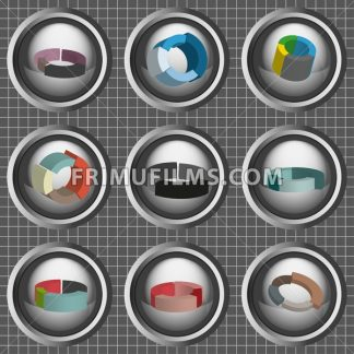 Business 3d pie charts set, flat style over silver background with white grid. Digital vector image - frimufilms.com