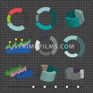 Business charts in 2d and 3d, flat design. Digital vector image - frimufilms.com