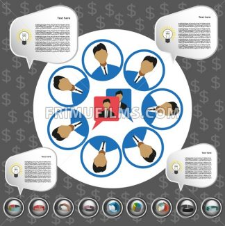Business communication infographic with icons, persons and team members, flat design. Digital vector image - frimufilms.com