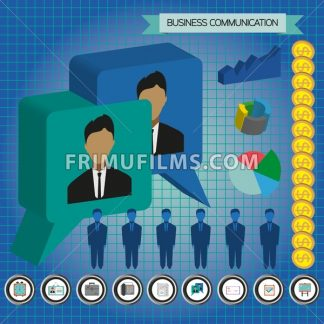Business communication infographic with icons, persons, money and charts, flat design. Digital vector image - frimufilms.com