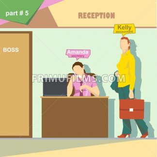 Business company roles situation infographics with accountant and secretary talking on the phone at work. Digital vector image - frimufilms.com
