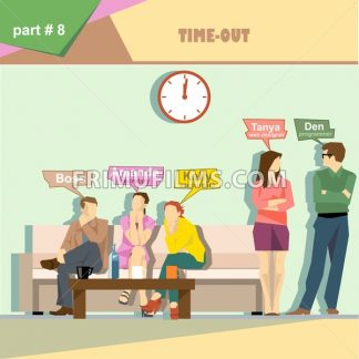 Business company roles situation infographics with boss, secretary, accountant, programmer and web designer having a break at work. Digital vector image - frimufilms.com
