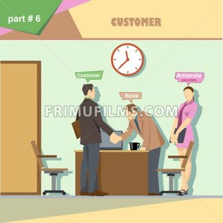 Business company roles situation infographics with boss, secretary and customer shaking hands at work. Digital vector image - frimufilms.com